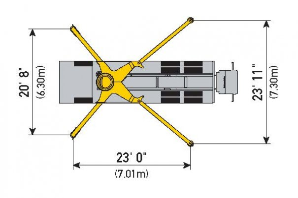 Concrete pumps for rent : 38Z-5 Boom Pump : Outrigger Spread Diagram