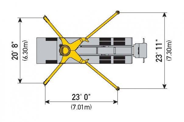 Pompes à béton à louer : Pompe a Mât 38Z-5 : Diagrame Stabilisateurs