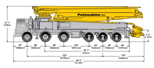 Concrete pumps for rent : 56M Boom Pump : Truck Spec