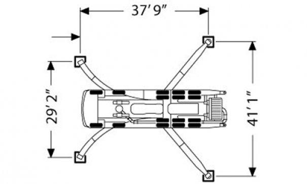 Pompes à béton à louer : Pompe a mât 61M : Diagrame Stabilisateurs