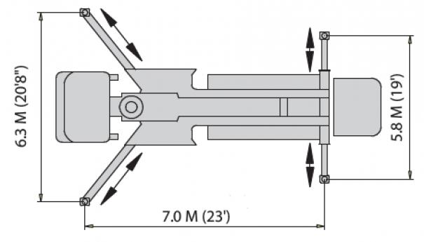 Pompes à béton à louer : Pompe a mât 32Z-5 : Diagrame de Stabilisateurs
