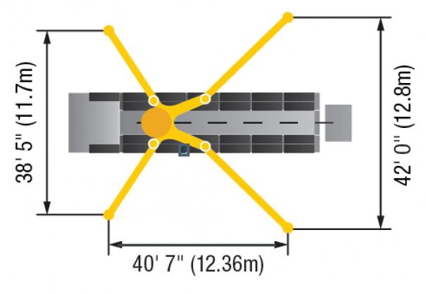 Pompes à béton à louer : Pompe a Mât 63M : Diagramme Stabilisateurs