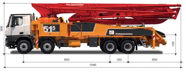 Pompes à béton à louer : Pompe a Mât 51M : Diagramme du Camion