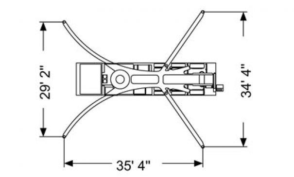 Pompes à béton à louer : Pompe a mât 55M : Diagrame Stabilisateurs